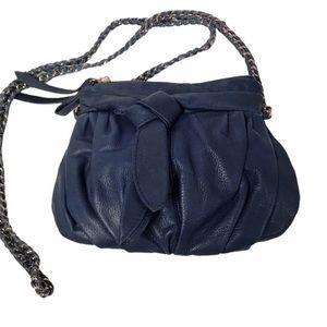 JUNIOR DRAKE Navy Blue Leather Crossbody Bag